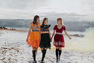 Šaty - oranžové vyšívané šaty Očovianka - 13512691_