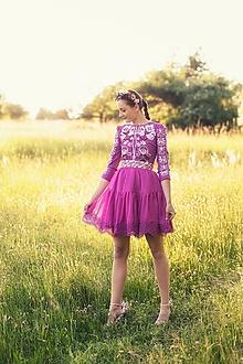 Šaty - krátke fialové šaty Zámutovské kvety - 13512899_