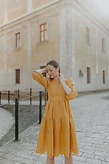 Šaty - ľanové madeirové šaty Zámutovské kvety - 13512939_
