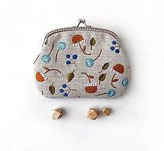 Peňaženky - Peňaženka XL Štylizované astry (s kapsičkami) - 13512686_