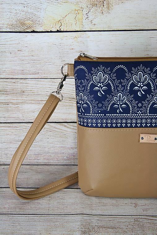 modrotlačová kabelka Dara béžová 2