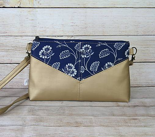 Modrotlačová kabelka Harlekín zlatá 1