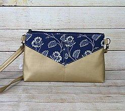 Kabelky - Modrotlačová kabelka Harlekín zlatá 1 - 13514308_