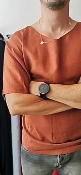 Oblečenie - Pánske ľanové tričko Havran (tehlová) - 13513046_