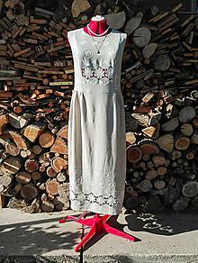 Šaty - Ľanové vyšívané šaty - biela výšivka - 13514444_