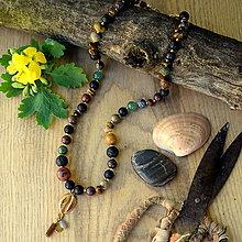 Náhrdelníky - Eklektický náhrdelník Tigrie oko,Láva,Jaspis,Avanturín,Achát... - 13514799_