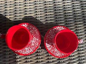 Nádoby - Červená séria šálok  zo srdca  - 13516180_