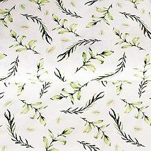 Textil - bavlnený úplet lístočky I, šírka 150 cm - 13515922_