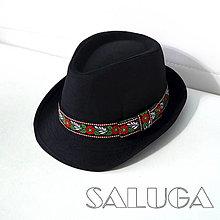Čiapky - Čierny klobúk - folklórny klobúk - 13516303_