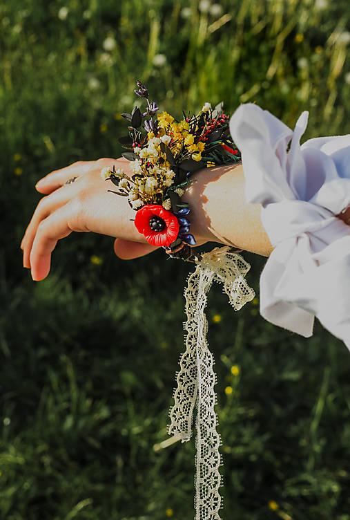 """Kvetinový náramok """"na lúke rozpoviem ti tajomstvo"""""""