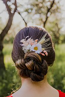 """Ozdoby do vlasov - Kvetinový hrebienok """"nežná margarétka"""" - 13516110_"""