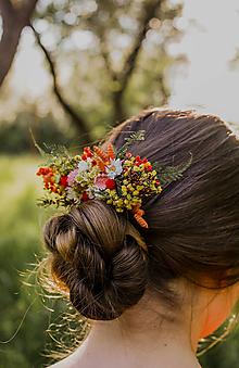 """Ozdoby do vlasov - Kvetinový hrebienok """"letné stmievanie"""" - 13516146_"""