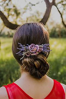 """Ozdoby do vlasov - Kvetinový hrebienok """"dotyky pri stmievaní"""" - 13516732_"""