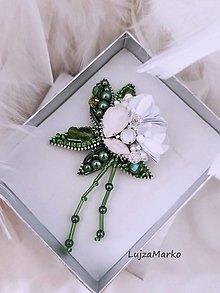 Brošne - Biela ruža - 13516087_