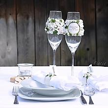Nádoby - Greenery svadba - kvety - sada svadobných pohárov - 13517405_