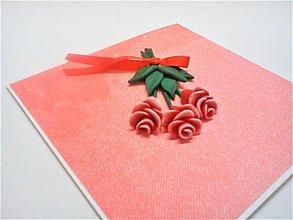 Papiernictvo - Pohľadnica ... ruže červené - 13521294_