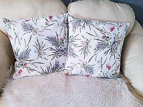Úžitkový textil - Dekoratívny vankúš levandulové kytičky - 13520740_