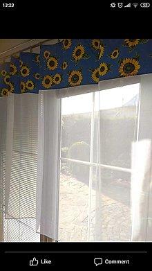 Úžitkový textil - Záclona slnečnice na modrom - 13519742_