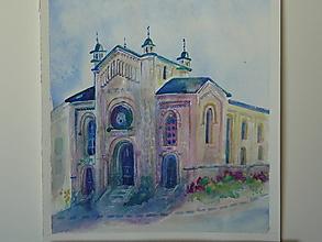 Obrazy - Bytča, synagóga 2, akv., 30x35 - 13520707_