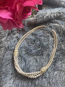 Náhrdelníky - Perlový náhrdelník - béžový - 13519617_