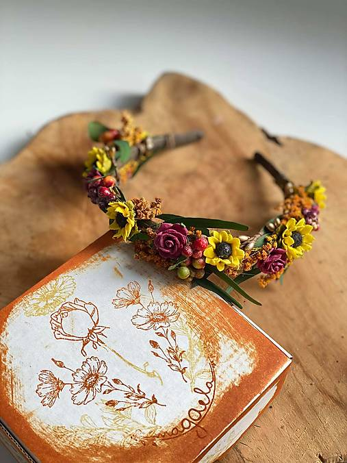 """Kvetinová čelenka """"stmievanie v poli slnečníc"""""""