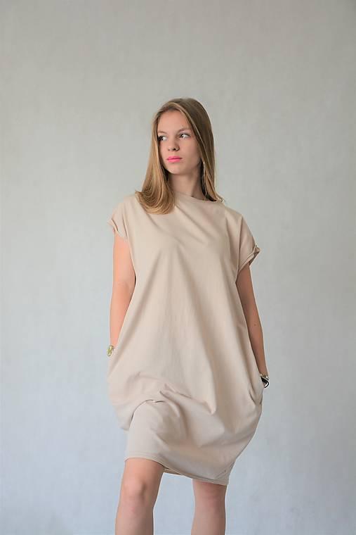 Šaty - Úpletové dámske šaty/tunika BEA Latte - 13525104_