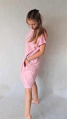 Šaty - Teplákové dámske šaty/tunika BEA Pink - 13525024_