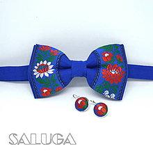 Doplnky - Modrý folklórny motýlik + náušnice - 13525572_