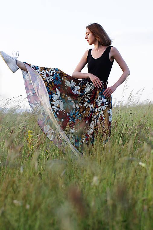 Kvetová sukňa maxi červená