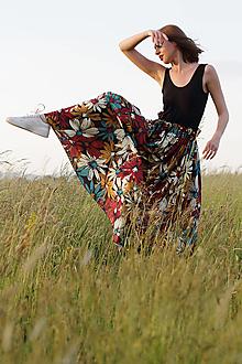 Sukne - Kvetová sukňa maxi červená - 13527589_