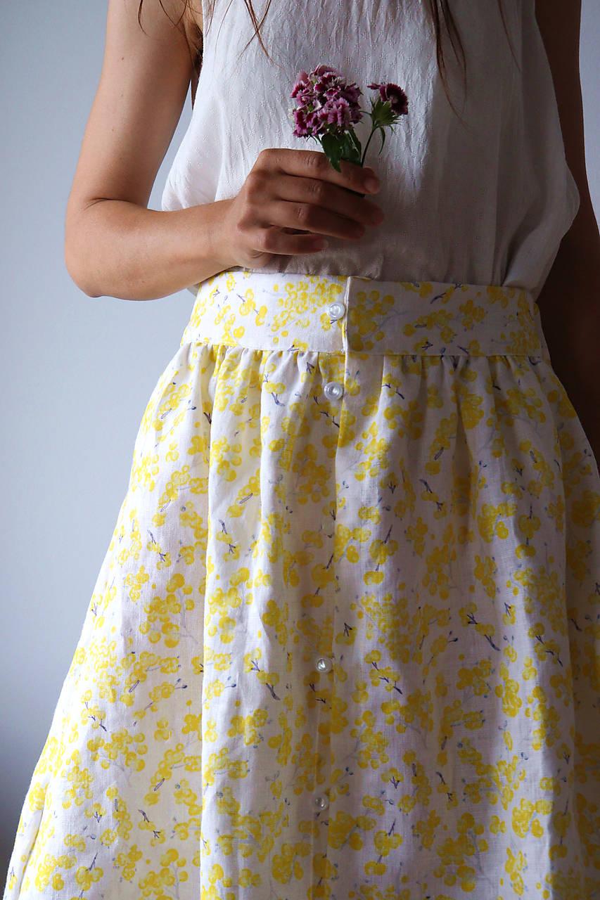 Akvarelová, ľanová sukňa na zapínanie