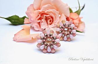 Náušnice - Visiace náušnice so Swarovski rivolkou ružové - 13526370_