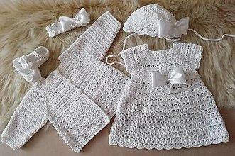 Detské oblečenie - Set na krst šaty papučky čepček svetrík - 13529578_