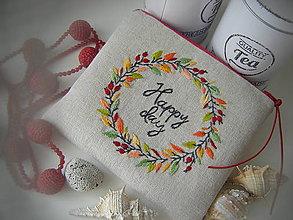 Taštičky - Vyšívaná taštička happy day 2 - 13529084_