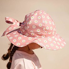 Detské čiapky - Detský klobúk daisies pink - 13531840_