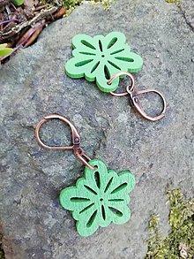 Náušnice - Náušničky kvetinky malé zelené - 13530569_