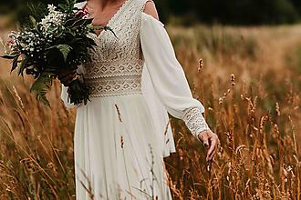 Šaty - Boho svadobné šaty s dlhým rukávom vhodné aj na leto SKLADOM - 13531554_