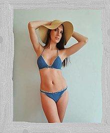 Bielizeň/Plavky - Háčkované plavky Aquamarine - 13531434_