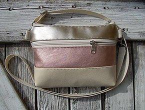"Taštičky - ""mini city bag 3in1- metalrose+beige"" -ľadvinka+taška - 13530917_"
