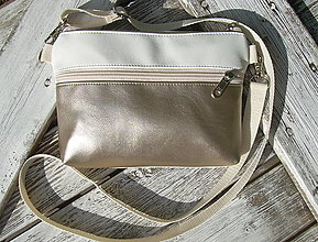 "Taštičky - ""mini city bag 3in1- metalbeige+white"" -ľadvinka+taška - 13530920_"