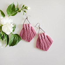 """Náušnice - makramé náušnice """"rozkvitnutá lúka"""" (Ružová) - 13532802_"""