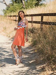 Šaty - Sukňo-šaty kratšie (Oranžová) - 13534383_