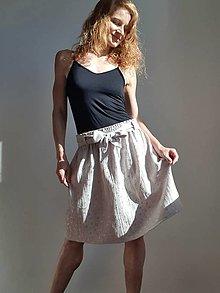 """Sukne - Dámska sukňa """"Suzi"""" - svetlosivá so zlatou potlačou srdiečok - 13536122_"""