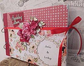 Papiernictvo - Svadobný album _červené kvety - 13535260_