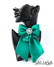Odznaky/Brošne - Dámsky motýlik - luxusný - zelený - smaragdový - brošňa - 13535826_
