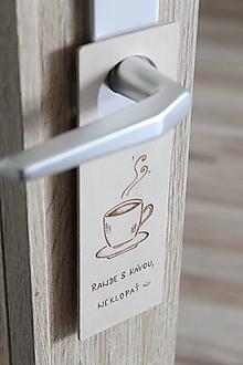 """Tabuľky - Drevená tabuľka na dvere """"Rande s kávou"""" - 13535738_"""