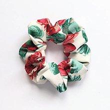 Ozdoby do vlasov - Recy-scrunchie puffy (kvetinková) - 13535983_