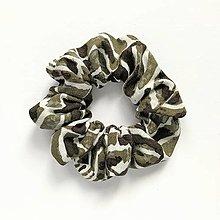 Ozdoby do vlasov - Recy-scrunchie puffy (džungľa) - 13535988_