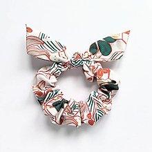 Ozdoby do vlasov - Recy-scrunchie oranžovo-zelená - 13535992_
