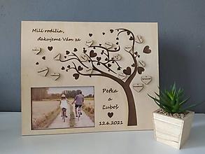 Darčeky pre svadobčanov - Poďakovanie pre rodičov s fotkou - strom - 13539244_
